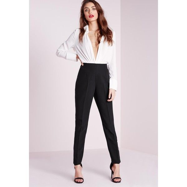 Missguided High Waisted Cigarette Trousers (€25) ❤ liked on Polyvore featuring pants, high-waisted trousers, high waisted cigarette trousers, high waisted cigarette pants, high waisted trousers and high waisted pants