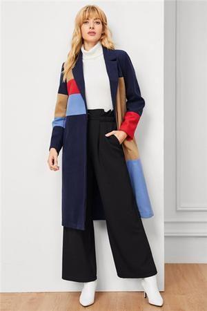 b0dd3fd5c8 2019 的 Colorblock Pocket Longline Coat | coats 主题 | Coat、Long a ...