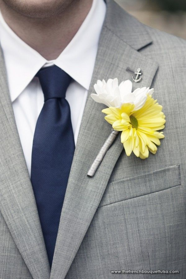 <3 This!!  Sweet Yellow and White Gerber Daisy Boutonniere - The French Bouquet - Laura Vogt Photography
