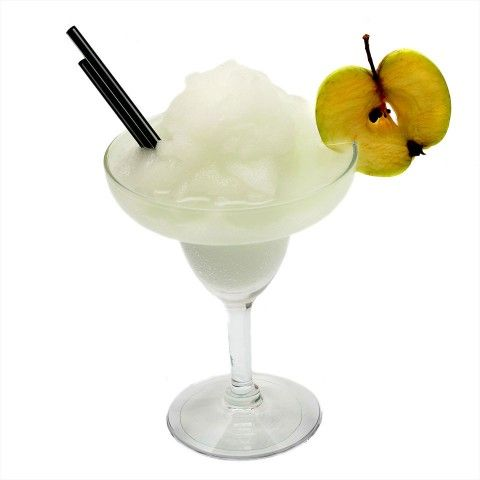The Frozen Apple Margarita 45 ml tequila 30 ml apple liqueur (or schnapps) 60 ml sweet and sour mix Blend with appropriate quantity of ice until smooth. Serve in margarita glass. Garnish with lime wheel.
