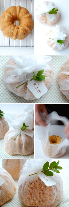 tiny bundt cakes wrapped in cheesecloth.