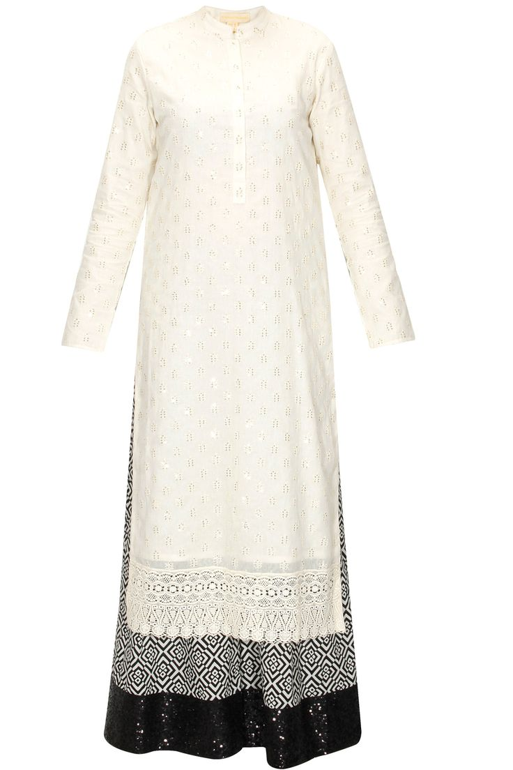 Cream embroidered kurta with black printed pants available only at Pernia's Pop-Up Shop.
