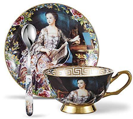 Panbado Tasses à Thé Service à Café 200ml Avec Soucoupe Cuillère En