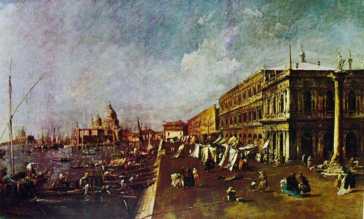 Francesco Guardi - Il molo con la libreria verso la chiesa della salute