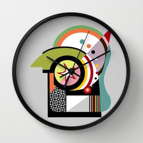 Cute Wall Clock, Unique Wall Clock, Retro Wall Clock, Bauhaus Inspired, Lime Green, Black, Orange, Red, Yellow, Colourful  $40