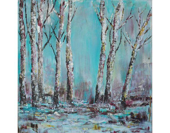 Winter Trees 18 x 18 Digital Artwork by TheSplatteredWall