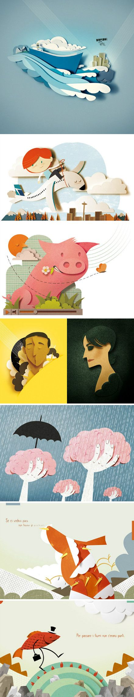 8 good examples of paper sculpture - so expressive - I think my favourite is the one with the cloud trees