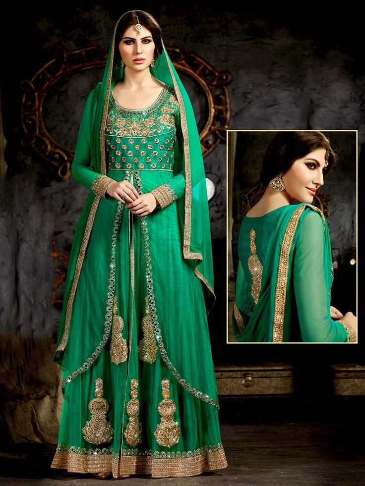 Attractive green color #Net #Kameez with zari, sequins, #Kundan work with matching #Palazzo pant and patch border dupatta. Item Code : SLEB82S13 http://www.bharatplaza.com/new-arrivals/palazzo-suits.html