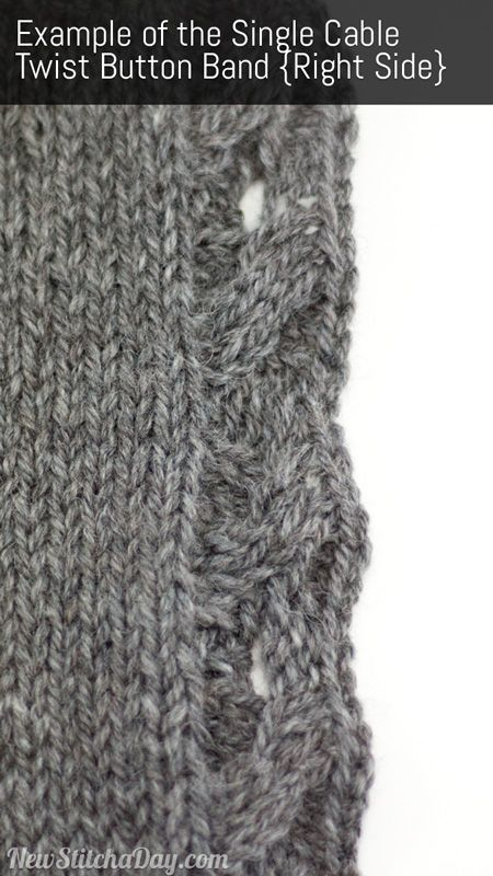 How to Knit the Single Cable Twist Button Band
