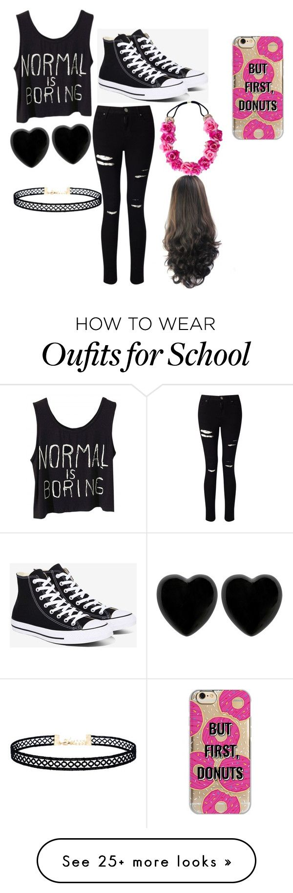 """""""First day of school outfit"""" by toxicgummibear12 on Polyvore featuring Miss Selfridge, Converse, Dollydagger, LULUS and Agent 18"""