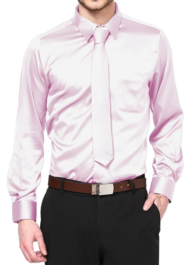 DANIEL ELLISSA MENS WHITE SATIN DRESS SHIRT TIE HANDKERCHIEF SET L  16.5 NEW
