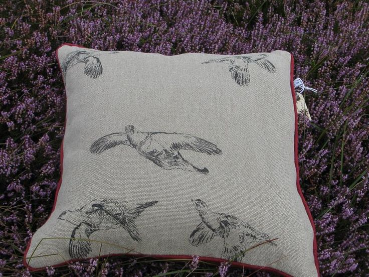 Linen grouse cushion