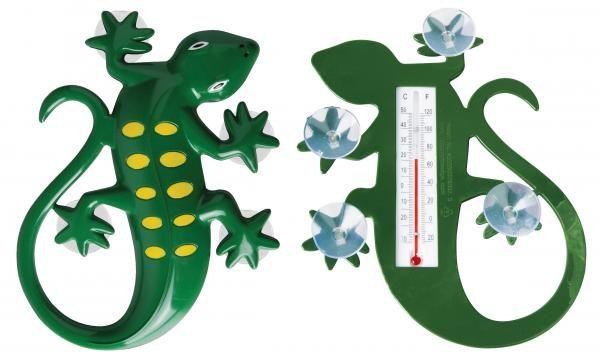 Gyík alakú műanyag hőmérő, tapadó koronggal, -30 és + 50 fok között mér.