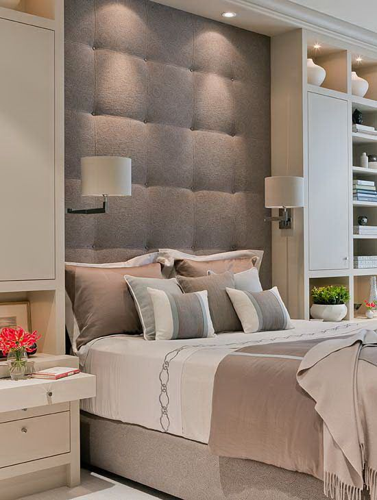 Master bedroom - Recessed headboard, upholstered, down lights, side lamps. Alcove effect + Modern cornice look