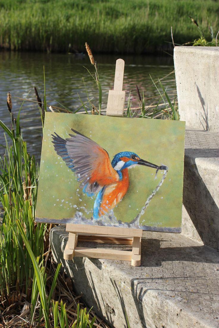 Mijn nieuwste ijsvogel schilderij. Olieverf op paneel ca 24x 30 cm. En ook hij is helemaal klaar voor koningsdag met z'n mooie oranje pak ;)