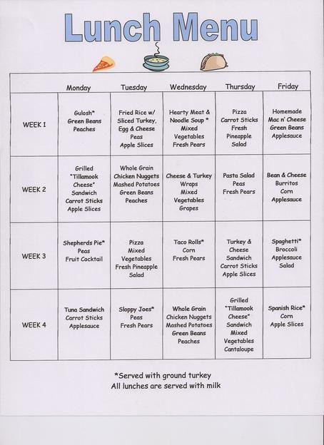 weekly lunch menu template