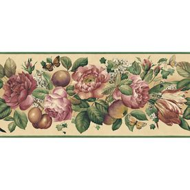 """allen   roth�9-1/4"""" Floral And Fruit Trail Prepasted Wallpaper Border"""