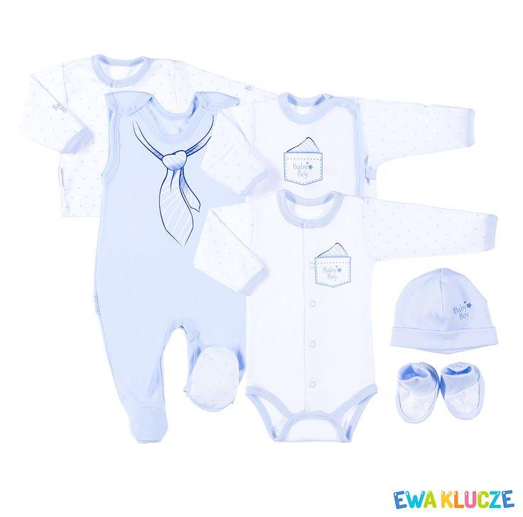 EWA KLUCZE, kolekcja CLASSIC BABY, komplet niebieski dla chłopczyka, ubranka dla dzieci, EWA KLUCZE, CLASSIC BABY collection, blue baby boy set, baby clothes