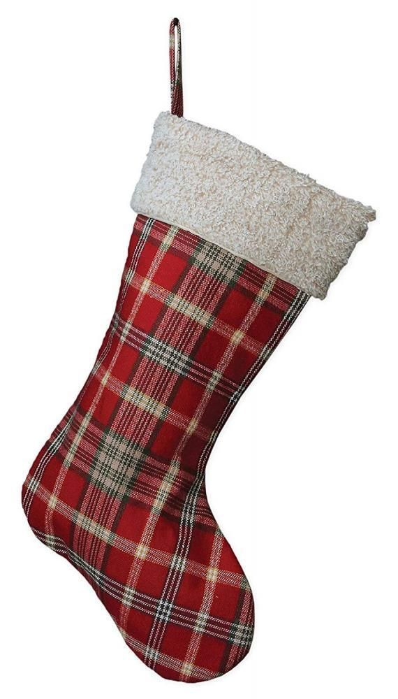 20 Inch Red Plaid Fabric Hanging Christmas Stocking with Sherpa Cuff