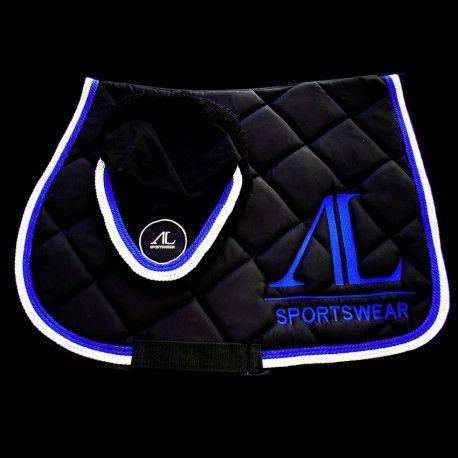 Tapis & Bonnet Noir équitation Alexandra Ledermann Sportswear - 4 galons (2 bleus électriques et 2 blancs), Logo Bleu Électrique