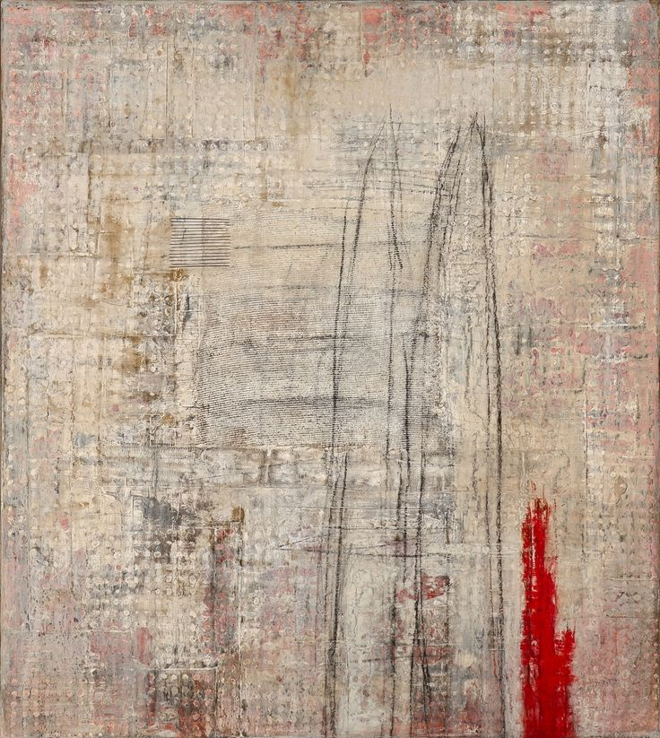 jeanie gooden WINTER HAS A RED LINING, 57 x 51, Mixed Media on Canvas