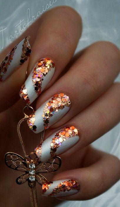 Glitter swirl nails bronze and jewellery shellac nail art
