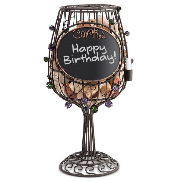 Chalkboard Wine Glass Cork Cage