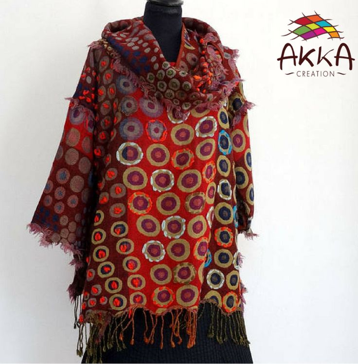PONCHO SWEATER in red, black and brown multicolored wool, embroidered with woolen strand, straight collar, open on the sides.    Free size, long sleeves, fully open on the sides to suit all sizes.    100% Pure wool.    https://www.etsy.com/fr/listing/584670841/pull-poncho-en-laine-tissee-multicolore    #poncho #sweater #multicolored #wool #embroidered #womenfashion #ethicalfashion