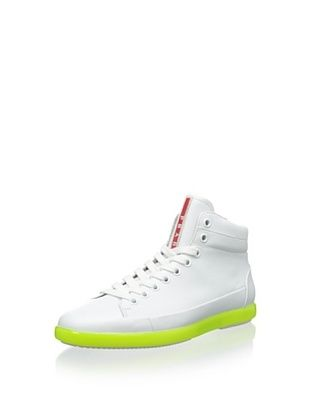 33% OFF Prada Men's Hightop Sneaker with Bright Sole (White/Neon Yellow)