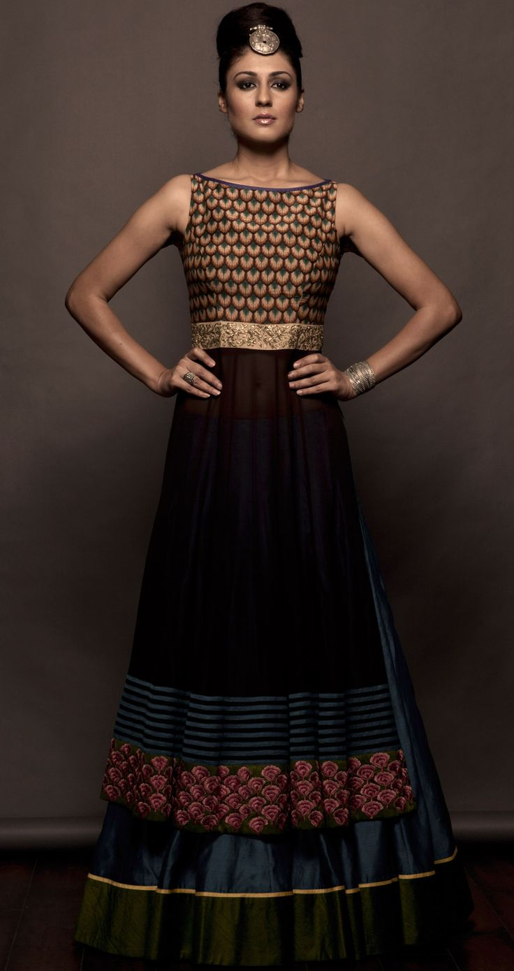 Coffe brown anarkali and lehenga set available only at Pernias pop-up shop.