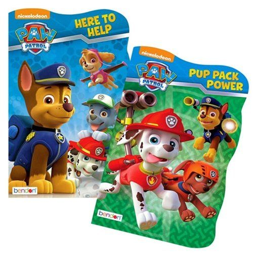 Set of 2 sturdy PAW Patrol board books for young children. These shaped board books follow the adventures of the heroic PAW Patrol puppies: Chase Rocky Marshall Skye Zuma and Rubble as they prote...