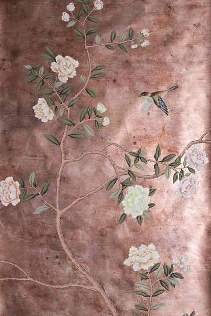 Pair this striking hand-painted wallpaper with accents in pale pink and rich green.