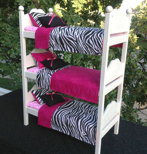 RESERVED Triple bunk for 18 in American Girl Doll Zebra Cheetah - Best 20+ Doll Bunk Beds Ideas On Pinterest American Girl Beds