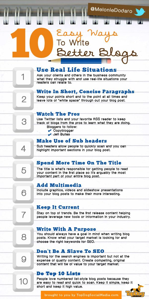 10 Easy Ways To Write Better Blogs http://topdogsocialmedia.com/10-blogger-tips/ #infographic #blogging #contentmarketing
