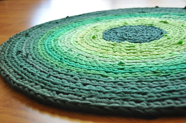 crocheted from thrift store sheets and tshirts. Beautiful.