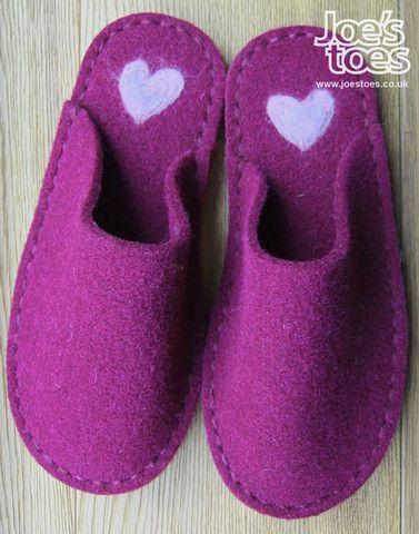 Joe's Toes - Purple slipper with handfelted heart