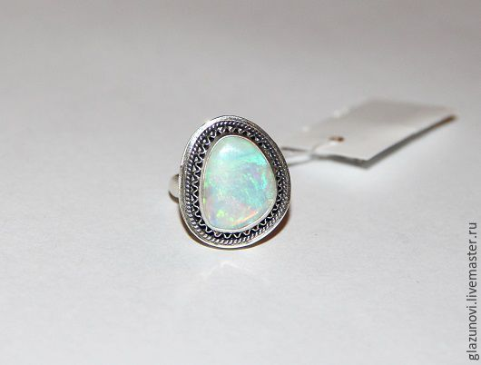 """Купить Серебряное кольцо (925) """"Радуга""""с опалом (Австралия) - разноцветный, кольцо с опалом, серьги с опалом"""