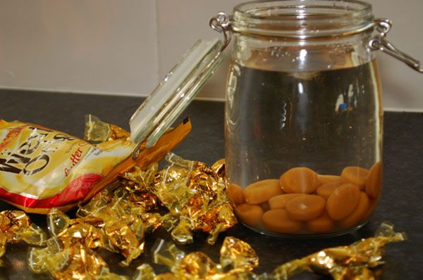 Homemade Toffee Vodka - thrifty homemade Christmas gift.