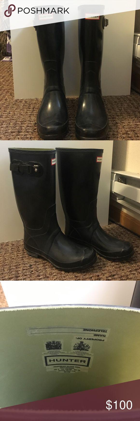 Black Non-Glossy Wide Calf Hunter Boots Black non-glossy hunter boots. Only worn a few times (picture of sole above). Women's size 8, men's size 7 Hunter Shoes Winter & Rain Boots