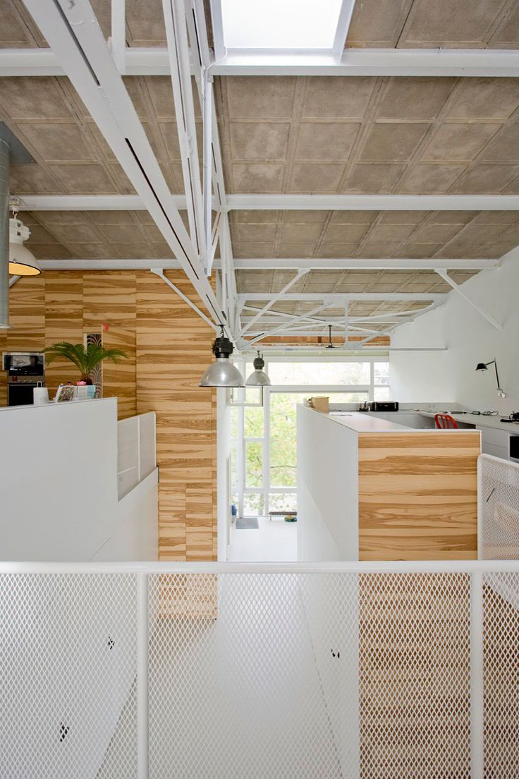 Interior, Astounding House Like Village By Marc Koehler Architects In Amsterdam Featuring Interior Design With Wire Railing, Track Lighting And Wooden Wall: Gorgeous Contemporary Home Interior from Holland with Fabulous