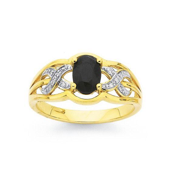 9ct Gold Black Sapphire & Diamond Infinity Ring