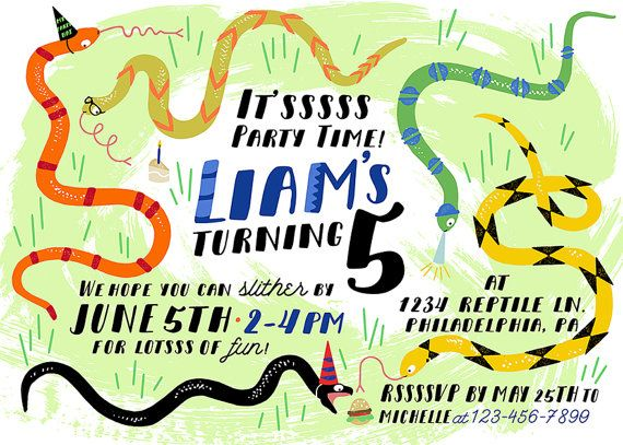 14 best logans 1st bday images on pinterest dragon party snake birthday party invitation printable snake by exclamationbird filmwisefo