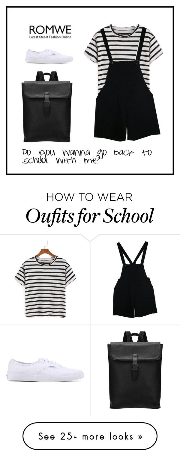 """""""Back to School"""" by romwe on Polyvore featuring American Apparel and Vans"""