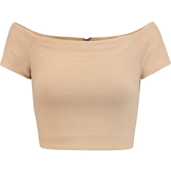 Alice + Olivia Gracelyn off-the-shoulder crepe top ($125) ❤ liked on Polyvore featuring tops, shirts, crop tops, cropped, t-shirts, beige, beige top, zipper crop top, off the shoulder shirts and zipper shirt