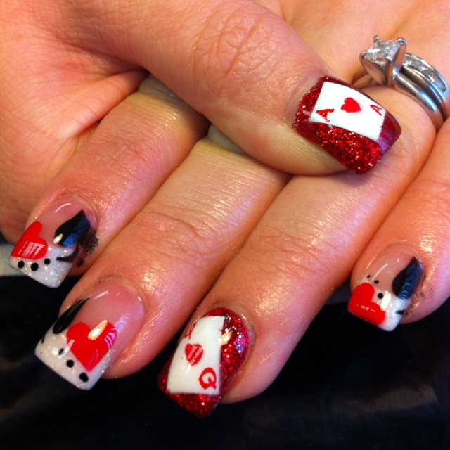 57 best valentines day nail art images on pinterest funky nails queen of heart nails prinsesfo Choice Image