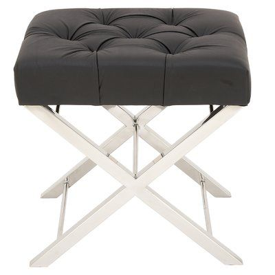 benzara black tufted leather and stainless steel stool silver black vanity stool