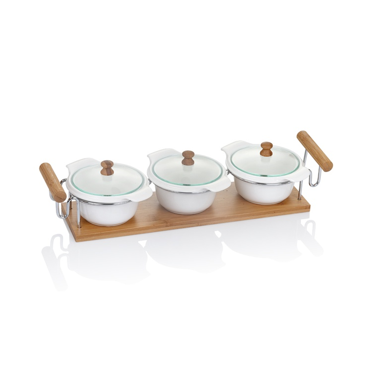 Bernardo bambu porselen yuvarlak kapaklı üçlü servis #bamboo #porcelain #cooking