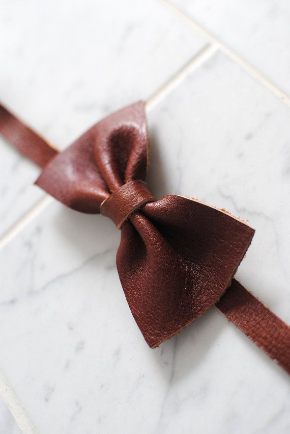 Brown Geninue Leather Bow-tie for Men & Women by SutorminaBags
