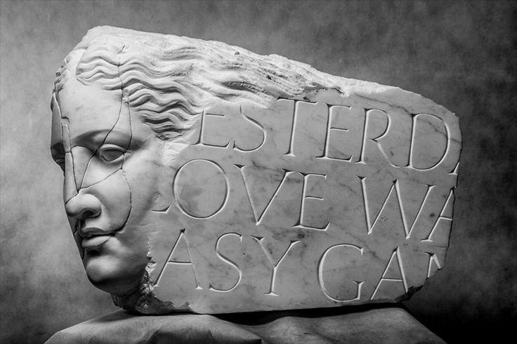 Michal Jackowski, YESTERDAY, 76 x 34 x 52 cm, Carrara white marble, 2013  #sculptures #woman #artact #humans #antique #pinart #creative #passion #love #art #classic #feather #soft #exhibition #polishart #face