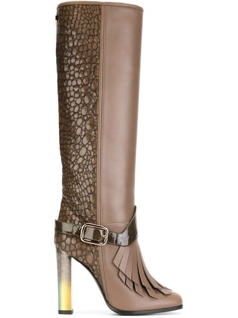 Shop Pollini fringed crocodile effect knee-high boots in Elite from the world's best independent boutiques at farfetch.com. Shop 300 boutiques at one address.